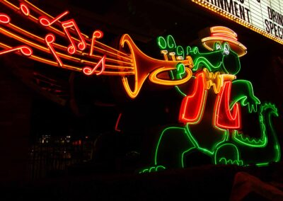 Neon crocodile Playing the trumpet